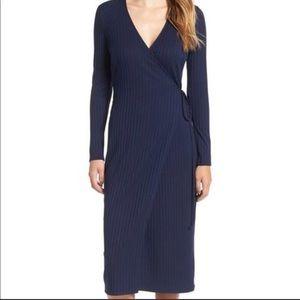 ASTR The Label, Rib Knit Wrap Midi Dress, Navy